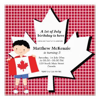 Canadian birthday boy custom invites