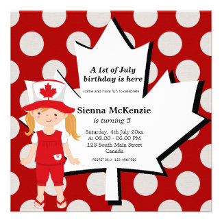 Canadian birthday girl personalized invites