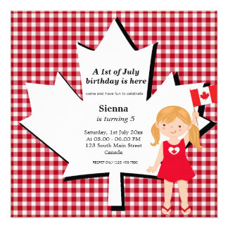 Canadian birthday girl personalized invite