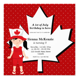 Canadian Birthday girl Custom Invitations