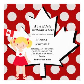 Canadian birthday girl custom invite