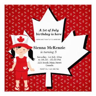 Canadian Birthday girl Invitations