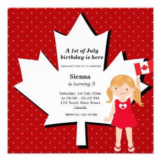 Canadian birthday girl custom invitation