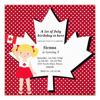 Canadian birthday girl personalized invitation