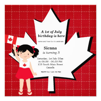 Canadian birthday girl invite