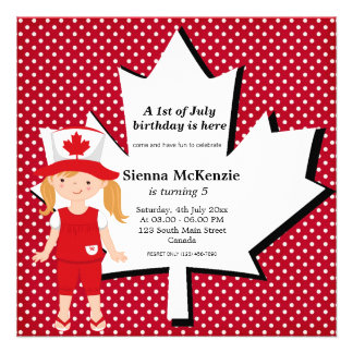 Canadian birthday girl invitation