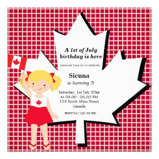 Canadian birthday girl personalized invitations
