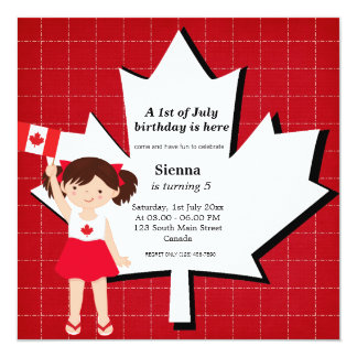 Canadian birthday girl 5.25x5.25 square paper invitation card