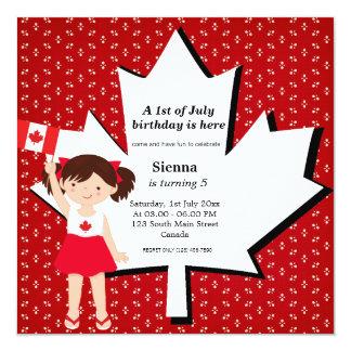 "Canadian birthday girl 5.25"" square invitation card"