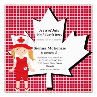 Canadian birthday girl personalized announcements