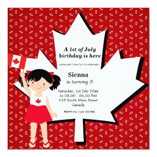 Canadian birthday girl personalized announcement