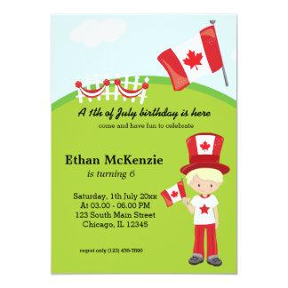 Canadian birthday party 13 cm x 18 cm invitation card