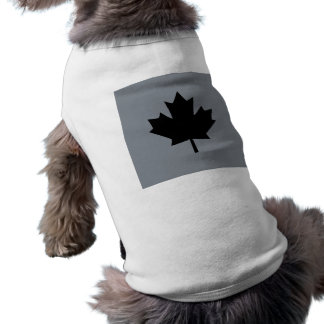 Canadian Black Maple Leaf Design Sleeveless Dog Shirt