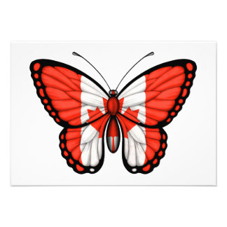 Canadian Butterfly Flag Personalized Invitation
