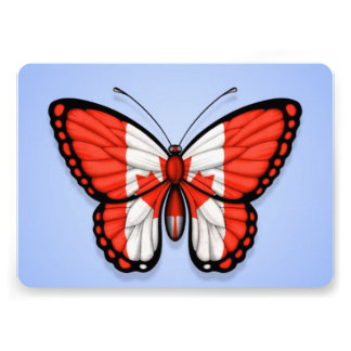 Canadian Butterfly Flag on Blue Custom Invitation