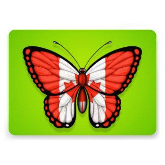 Canadian Butterfly Flag on Green Custom Invitations