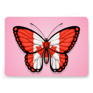 Canadian Butterfly Flag on Pink Custom Announcement