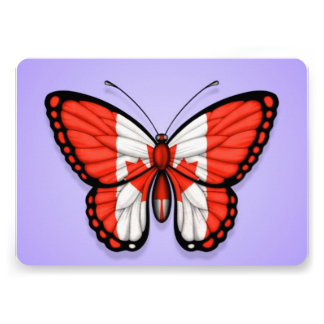 Canadian Butterfly Flag on Purple Announcements