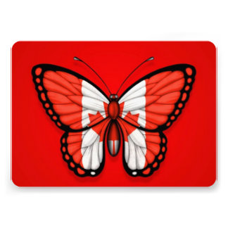 Canadian Butterfly Flag on Red Card