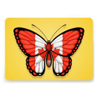 Canadian Butterfly Flag on Yellow Custom Invites