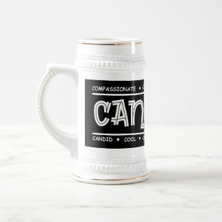 """Canadian Characteristics"" Wrap Design on Dark Mug"