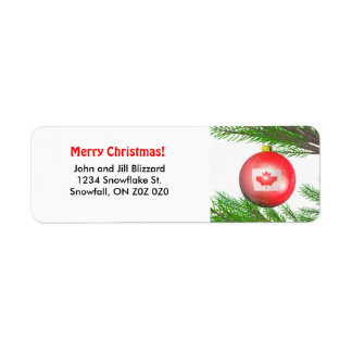 Canadian Christmas Tree Decoration Return Address Label
