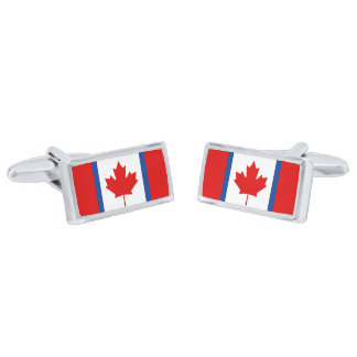 Canadian Duality Flag Cufflinks Silver Finish Cufflinks