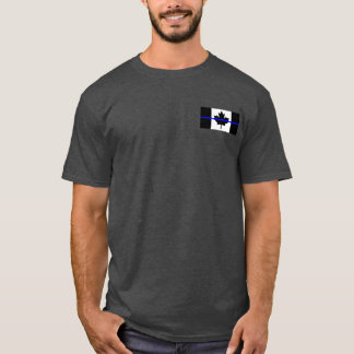 Canadian Flag Blue Line Double Sided Print T-Shirt