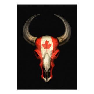 Canadian Flag Bull Skull on Black Personalized Invites