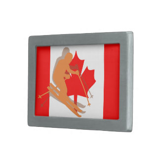 Canadian Flag Canada Ski Skiing Belt Buckles