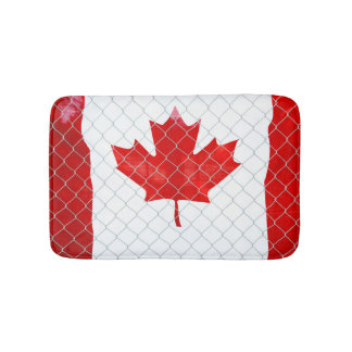 Canadian Flag. Chain Link Fence. Rustic. Cool. Bath Mat