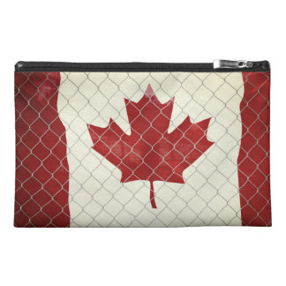Canadian Flag. Chain Link Fence. Rustic. Cool. Travel Accessory Bag