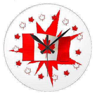 Canadian Flag Design Large Clock