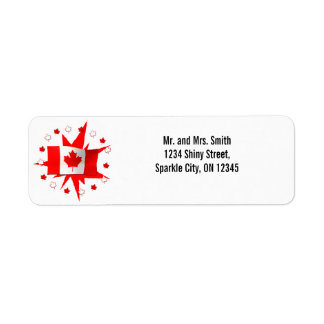 Canadian Flag Design Return Address Label