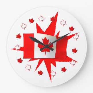 Canadian Flag Design Wall Clocks