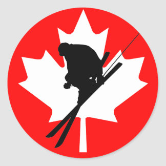 Canadian flag downhill skiing classic round sticker