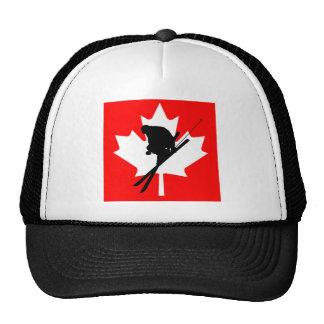 Canadian flag downhill skiing trucker hat