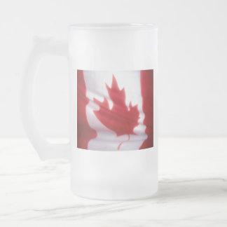 CANADIAN FLAG FROSTED GLASS BEER MUG