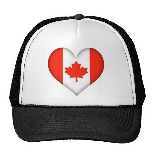 Canadian Flag Heart Mesh Hats