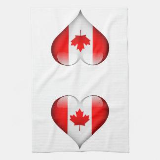 Canadian Flag Heart Tea Towel