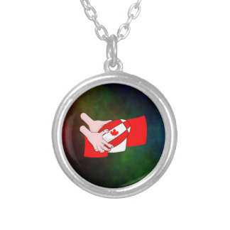 Canadian Flag Maple leaf Rugby Ball Round Pendant Necklace