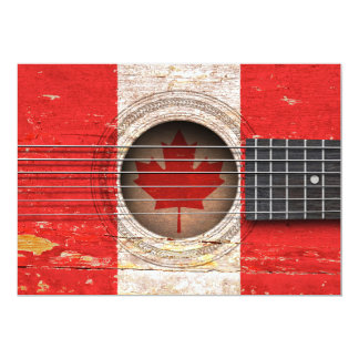 Canadian Flag on Old Acoustic Guitar Cards