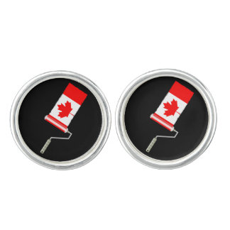 Canadian Flag Paint Roller Cuff Links