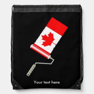 Canadian Flag Paint Roller Drawstring Bag