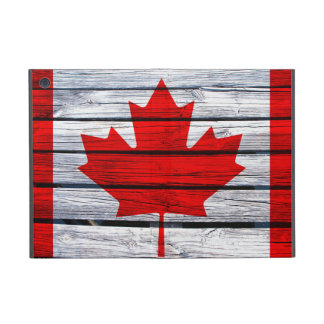 Canadian Flag Painted on Rustic Wood Case For iPad Mini