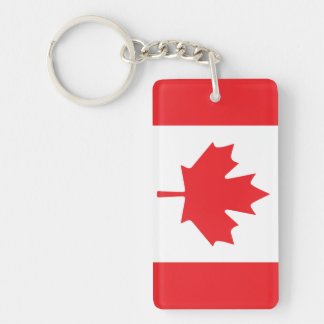 Canadian Flag Red Maple Leaf Banner Key Ring
