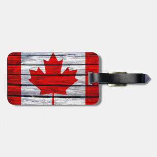 Canadian Flag Rustic Wood Luggage Tag