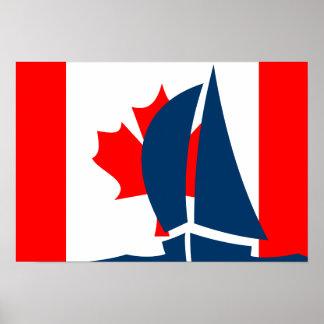 Canadian Flag Sailing Yacht Canada Nautical Poster