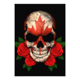 Canadian Flag Skull with Red Roses Invite