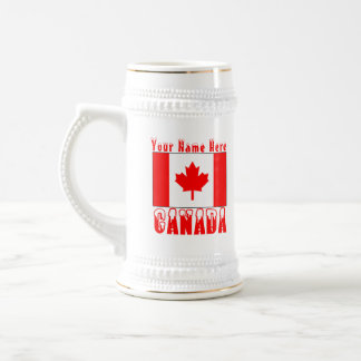 Canadian Flag Snow Capped Canada and Your Name 2 Beer Stein